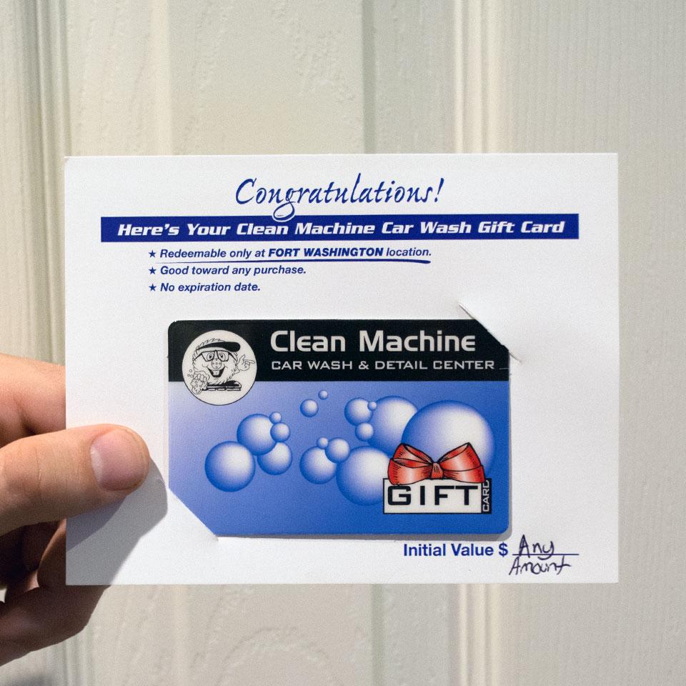 Clean Machine Car Wash Gift & Prepaid Cards
